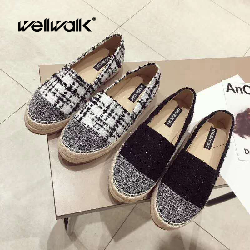 Plaid Shoes Women Flats Slip On Espadrilles Ladies Hemp Zapatos Mujer Loafers Casual Winter Shoes Ballet Flats Women summer women ballet flats genuine leather shoes ladies soft non slip casual shoes flower slip on loafers moccasins zapatos mujer