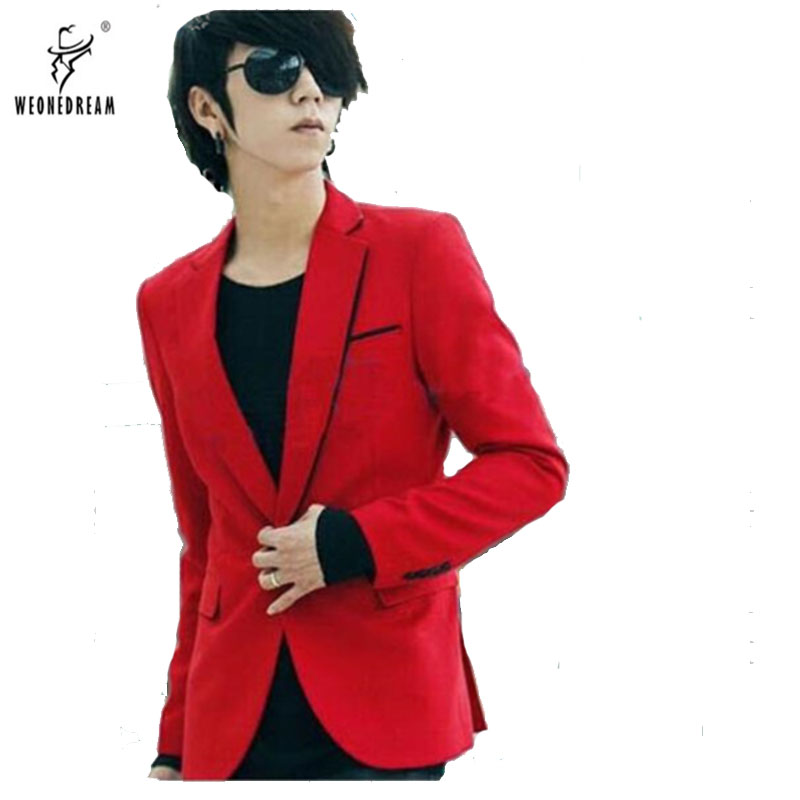 Suit Blazer Fastion Clothing Slim-Fit Male Men's Casual Cotton Red New-Arrival