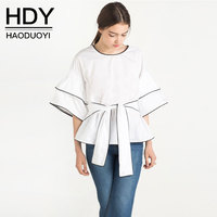 HDY Summer Autumn White Blouse Half Sleeve Shirt Female Office Lady Blouse Shirt Casual Blusas Femme