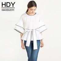 HDY Summer Autumn White Blouse Half Sleeve Shirt Female Office Lady Blouse Shirt Casual Blusas Femme