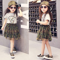 2-7y, 2016 New Fashion Girls Summer Skirt Set Baby Camouflage Set Children letter t shirt and Mesh Skirt Kids Two-piece Clothes