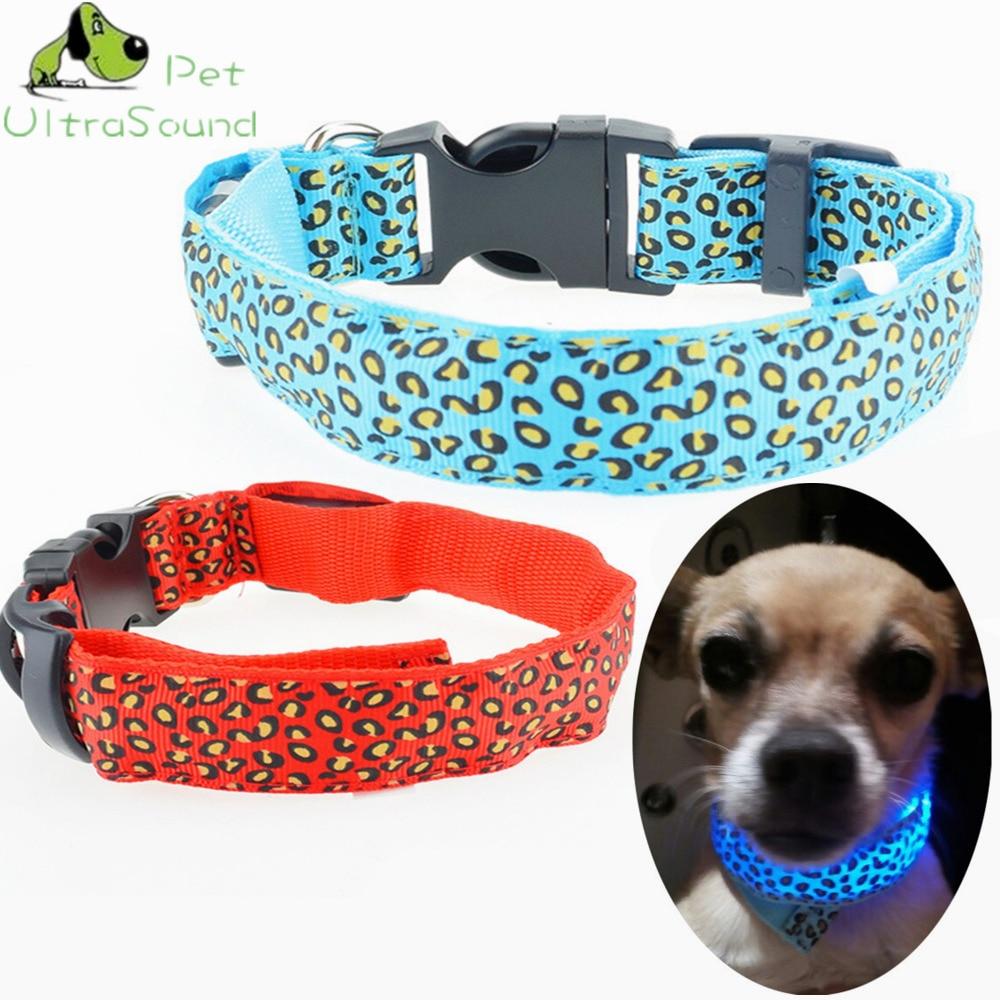 ULTRASOUND PET Leopard LED Dog Collar Flashing In Dark Nylon Size S M L XL Lighting Safety LED 2.5cm Wide Luminous Pet Collar