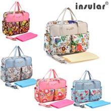 цены Insular Baby Diaper Bag Large-Capacity Multifunctional Shoulder Handbag For Baby Maternity Bag Fashion Stroller Nappy Mommy Bag