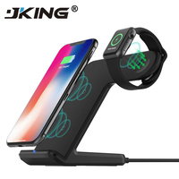 JKING 2 in 1 Fast Charging Qi Wireless Charger for Apple watch 1 2 3 4 For iPhone XS Max XR X 8 Plus For Samsung S9 S8 note 9 8