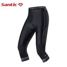 Santic Cycling Shorts 3/4 Coolmax 4D Padded Shorts Shockproof Knee Protection Reflective Mtb Shorts Road Bike Riding