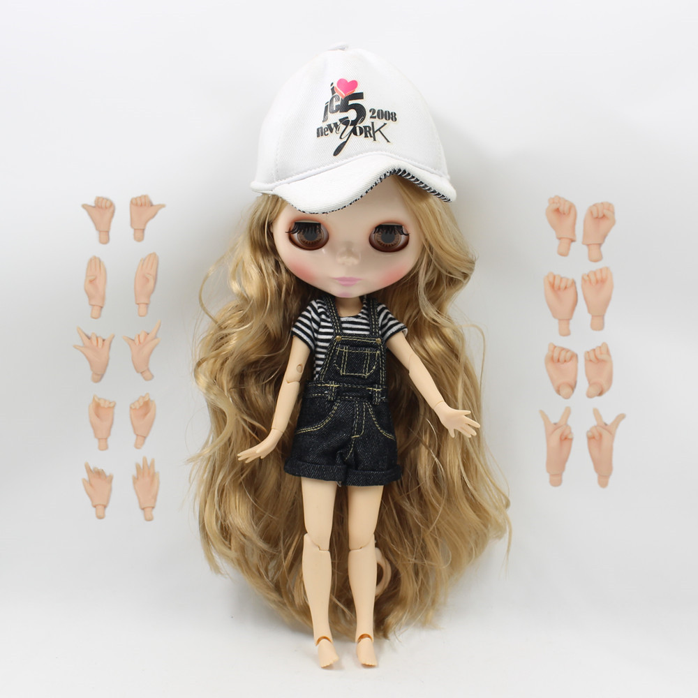 Free shipping blyth doll icy licca body 280BL3504 brown golden curly long hair joint body 1/6 30cm gift toy цена и фото