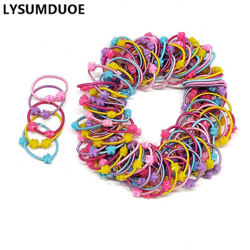 100Pcs/Lot Girls Hair Accessories Elastic Hair Bands Cute Scrunchy Bunny Ear Hoop Flower Hairbands Headdress Hair Bands for Kids
