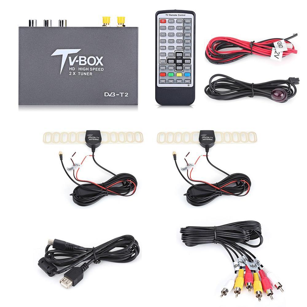 1080P HD DVB-T2 Car Digital TV Box Receiver 2 Antenna Tuners with Remote Control