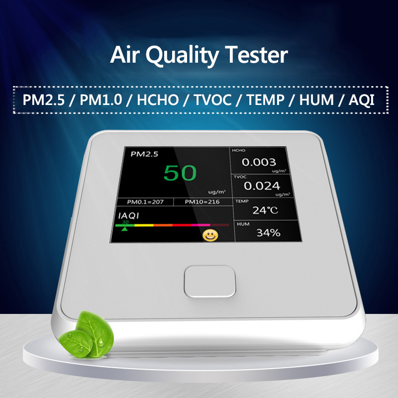HCHO Detector PM1.0 PM2.5 PM10 TVOC Temperature Humidity Meter PM 2.5 Gas Analyzer Home Protection AQI Air Quality Monitor