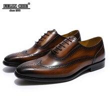 2019 Classic Genuine Leather Antiskid Brogue Oxfords Mens Dress Shoes Male Black Brown Size 39-46 FELIX CHU