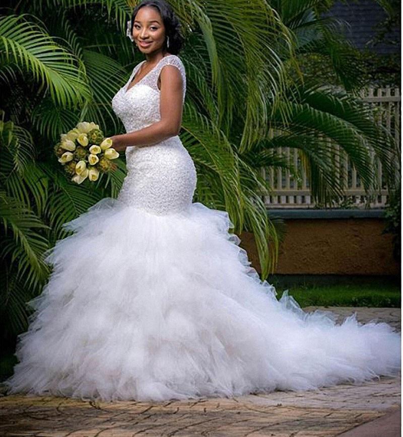Vestidos De Novia Sexy Mermaid Bridal Gown V Neck Crystal Beadings Vintage Plus Size African 2018 Mother Of The Bride Dresses