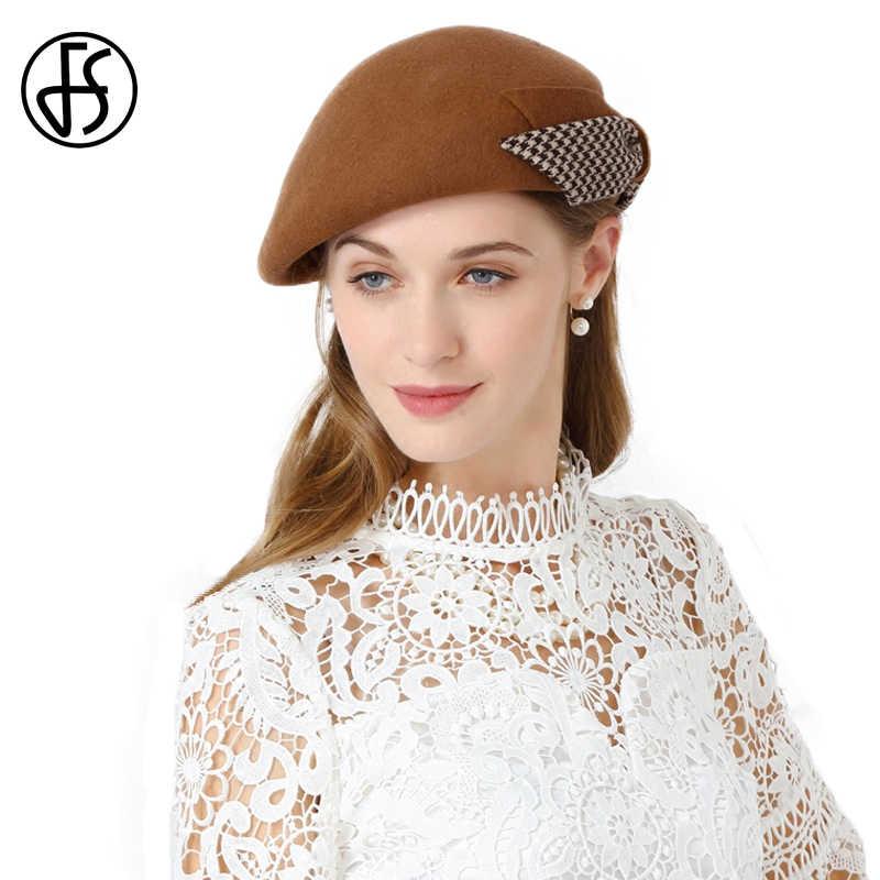 36adee6e0ba FS Vintage French Berets Hats 100% Wool Felt Fedora Hat Female Flat England  Style Womens