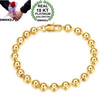 OMHXZJ Wholesale Personality Fashion Woman Girl Party Gift Gold Round Beads Chain 18KT Bracelet+Necklace Jewelry Set SE41