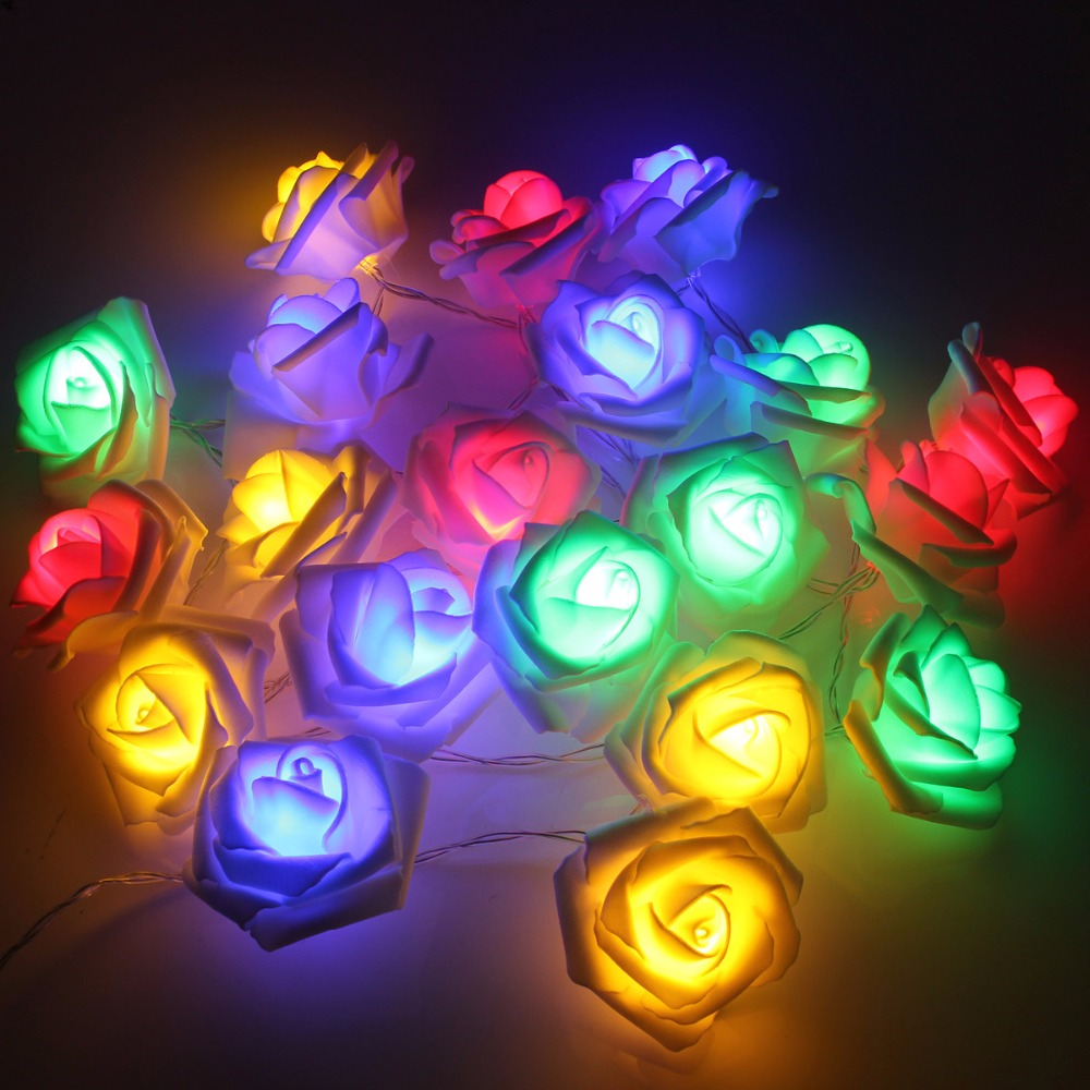 20led rose flower led christmas lights newyear wedding micro led lights decoration for home string fairy light 22m battery in flashlights torches from - Micro Christmas Lights