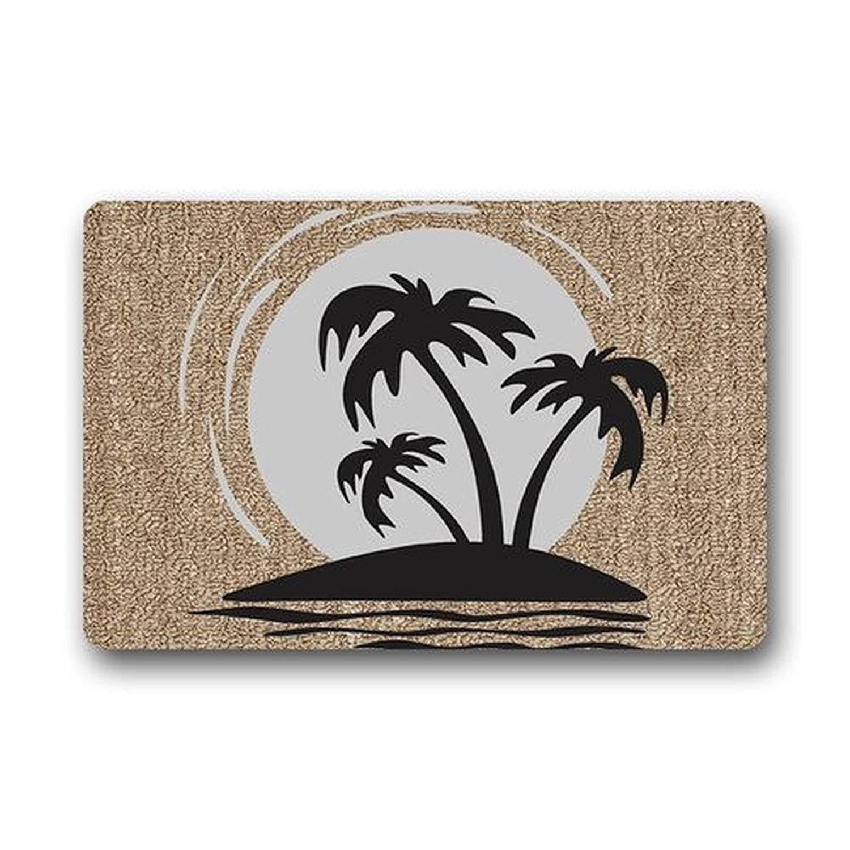 Двери Коврики S Пользовательские стирать в стиральной машине Дизайн пальмы Гавайи bseach смешно дверь Коврики Ванная комната Украшения для ку...