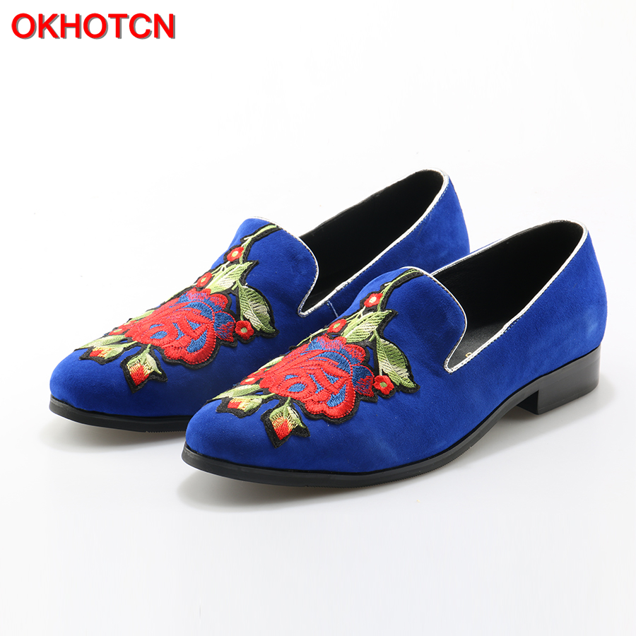 OKHOTCN Floral Embroidered Suede Men Shoes Soft Leather Flats Casual Slip On Moccasins Men Loafers Good Quality Driving Shoes npezkgc new arrival casual mens shoes suede leather men loafers moccasins fashion low slip on men flats shoes oxfords shoes