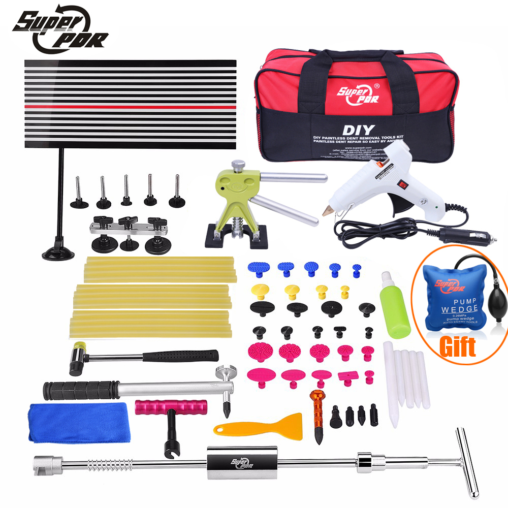 Super PDR Paintless Dent Repair Tools Set High Quality Car Dent Removal Collision Repair Tools Kit for Sale Auto Body Shop high quality dent diy tools super pdr slide hammer for paintless dent removal auto body repair lifter tools kit for sale