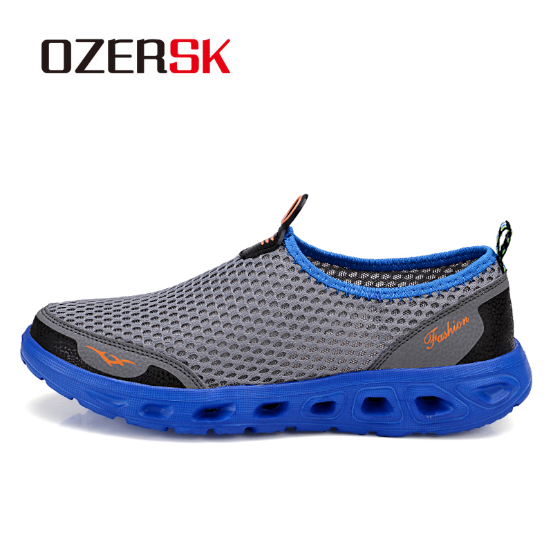 OZERSK Plus Size 35~45 Men Running Shoes 2018 Sport Brand Mesh Shoes High Quality Breathable Sneakers Slip on Summer Shoes Men summer style somix ultralight damping running shoes for men free run sneakers 2017 slip on breathable blade soles sport shoes