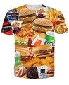 3d все-над печатными Фаст-Фуд Футболки гамбургеры фри куриные наггетсы и другие фаст-фудом забавный дизайн лето футболка тис топы