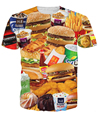 3d all-over print Fast Food T-shirt burgers fries chicken nuggets and other junk food  funny design summer t shirt tees tops