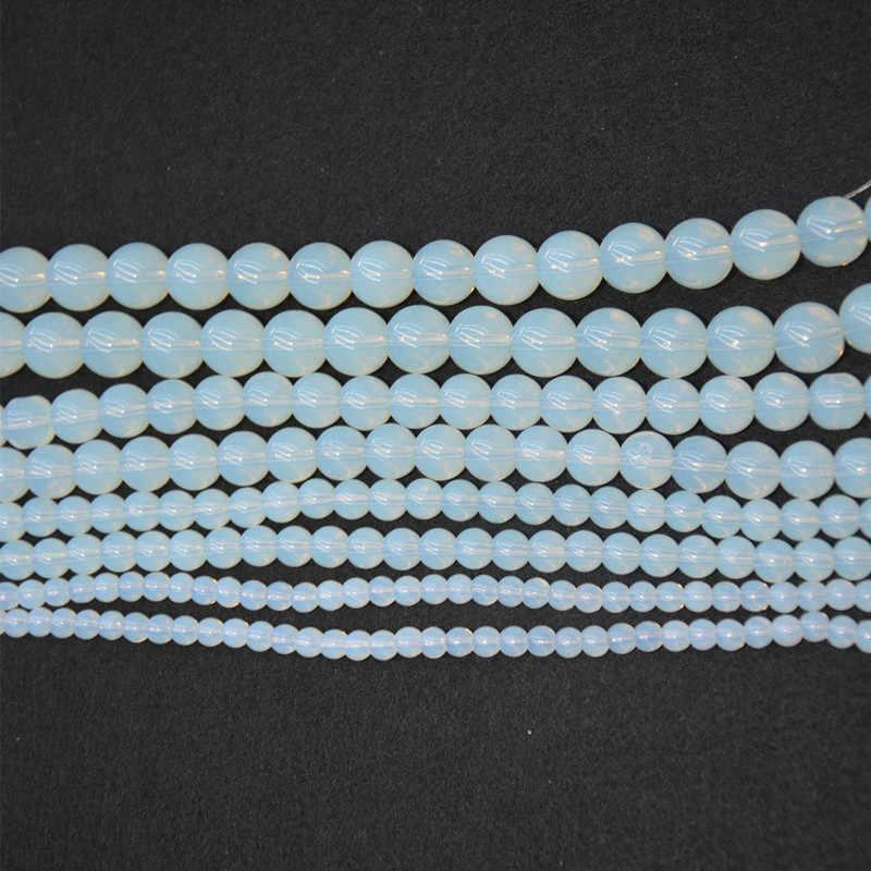 Wysokiej jakości 4 MM, 6 MM, 8 MM, 10 MM, syntetyczne okrągłe opal kamień koraliki luźny klejnot Ball koraliki dla zestaw do robienia bransoletek naszyjniki biżuteria ustalenia