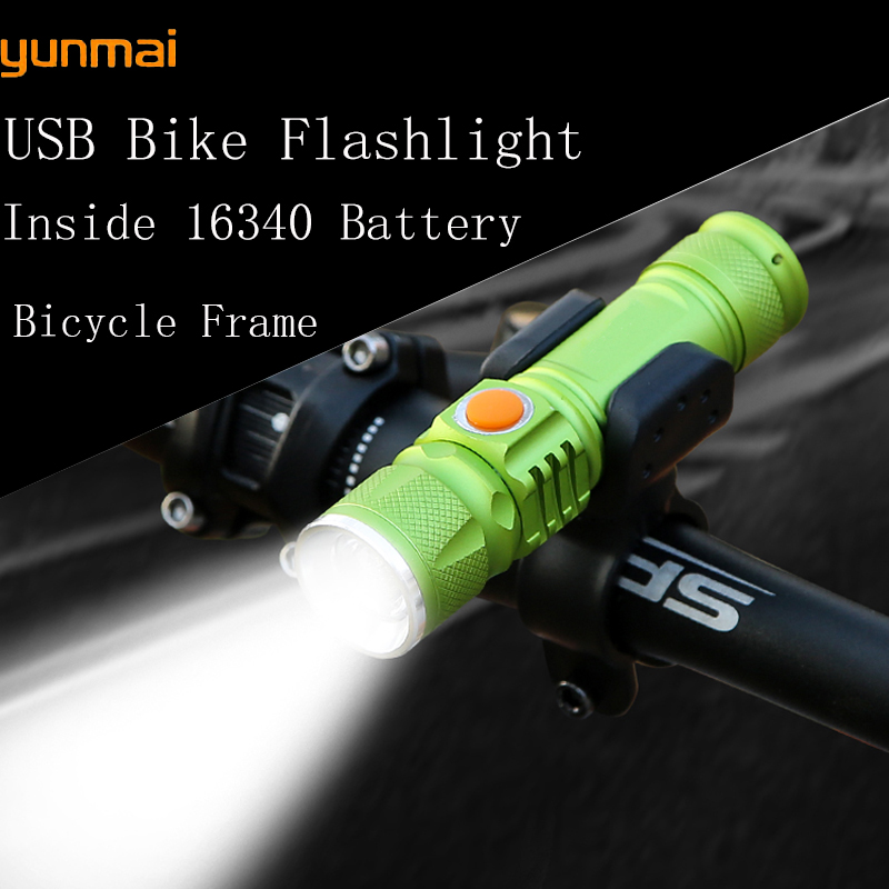 2000LM Super Bright  16340 Battery T6 LED Waterproof USB Flashlight  Pocket Rechargeable Zoom Tactical Flashlight +Bike clip 3 6v 2400mah rechargeable battery pack for psp 3000 2000