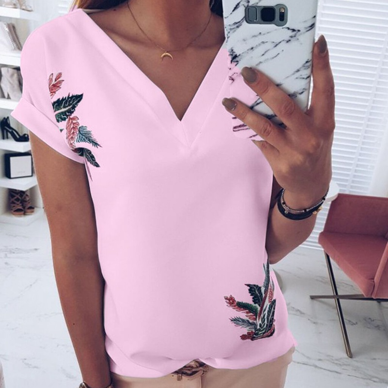 2019 Summer Leaves Print Women T Shirt Loose Casual Short Sleeve Tops Tee V Neck Female Tops Camisetas Mujer Plus Size