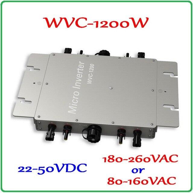1200W Waterproof IP65 22-50VDC Grid Tie Micro Inverter 36V DC to AC 220V or 110V Pure Sine Wave Output On Grid Inverter 1200W
