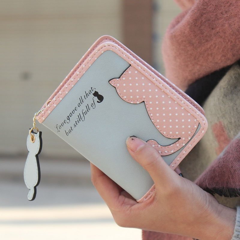 HOT Women Clutch Maison Fabre Women Lovely Cat Purse Short Wallet Bags PU Handbags Credit Card holder Famous brand Wallet hot sale 2015 harrms famous brand men s leather wallet with credit card holder in dollar price and free shipping