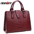 OGRAFF Genuino señoras del bolso de cuero 2017 del patrón del cocodrilo Mujeres messenger bags bolsos mujeres famoso diseñador de la marca de alta calidad