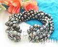 8 Strands Negro Perla Pulsera de envío libre