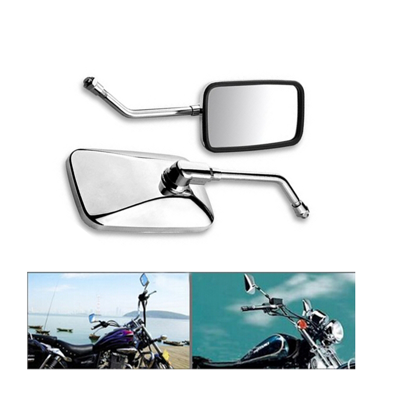 2PCS Chrome Motorcycle Mirror Rectangle Racing Bike for Chopper Cafe Rearview Mirrors Handlebar Mirror 10mm Thread Universal