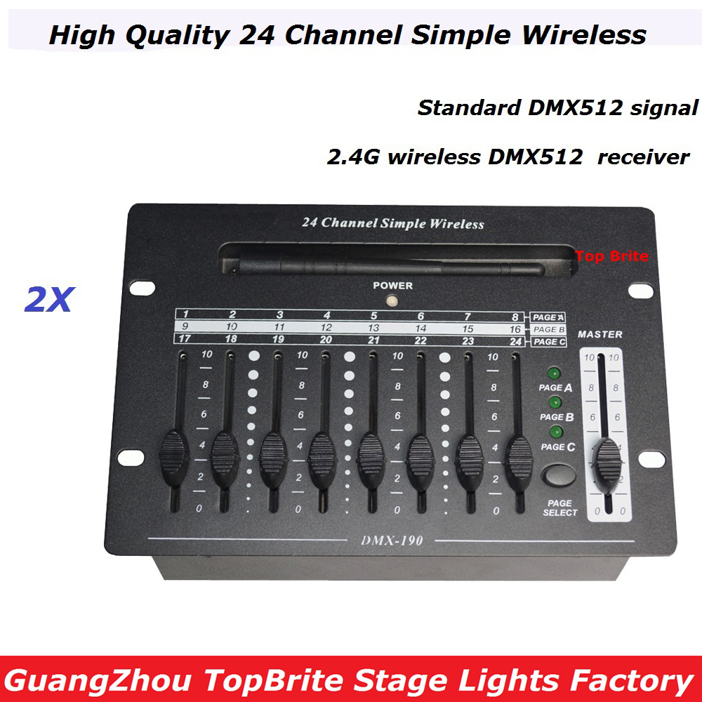 Free Shipping 2XLot NEW 24 Channel Simple Wireless Controller Stage Lighting DJ Equipment DMX Console For Stage Star Showers