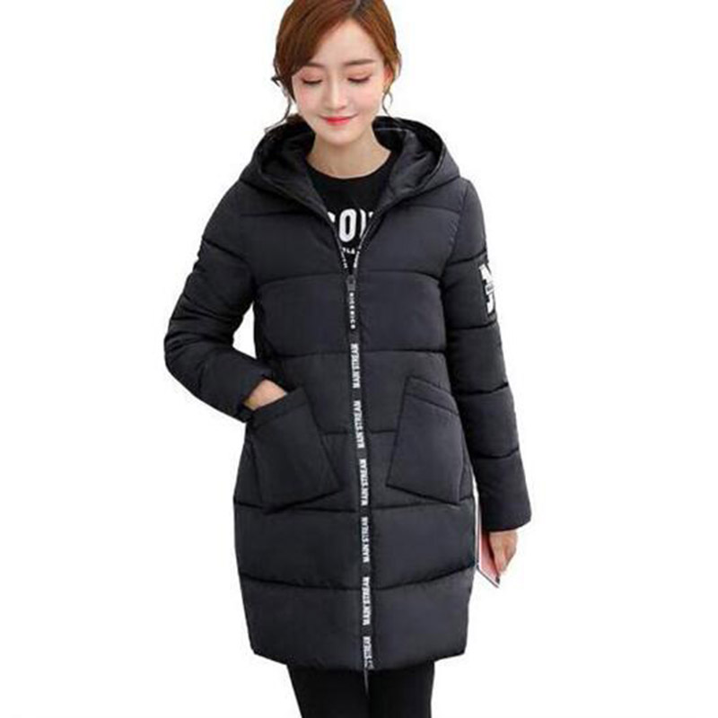 Winter 2017 Long Women Cotton Coat Hooded Parkas Warm Thick Casual Wadded Outerwear Sliming Jacket Cotton Coats PW1013 jolintsai winter coat jacket women warm fur hooded woman parkas winter overcoat casual long cotton wadded lady coats