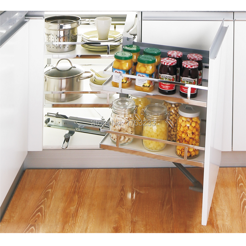 Pull Out Kitchen Cabinet Magic Corner Basket Steel Storage Pantry Unit