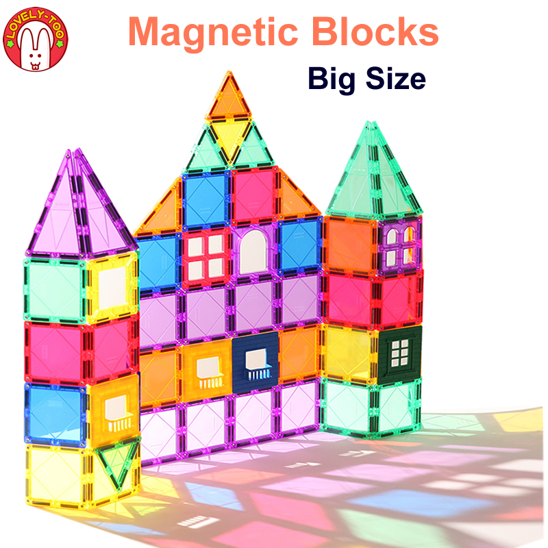 Magnétique Blocs de Construction Magnétique Tuiles Constructeur Jeux Aimant Jouet Modèle Jouets Éducatifs Pour Enfants LovelyToo