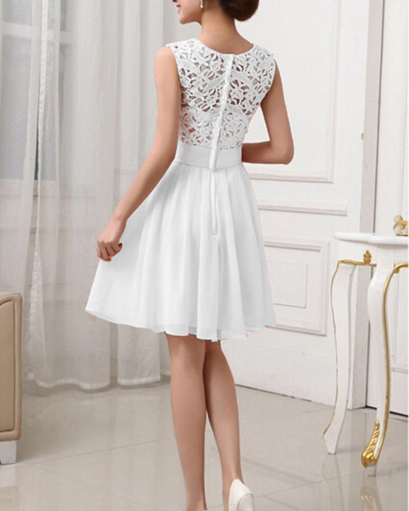 Fashion Cute White Chiffon Women Summer Dress 2017