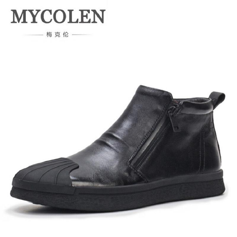 MYCOLEN Leather Men's Boots Classic Fashion Autumn and Winter motorcycle Boots Zip Men Martin Shoes Ankle Footwear Bottine Homme