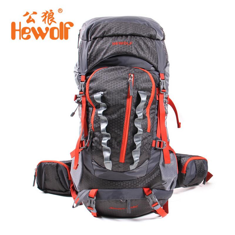 Hewolf Outdoor mountaineering bag travel backpack men and women package waterproof Camping Hiking Pack 45 +10L hunting backpack 75l external frame support outdoor backpack mountaineering bag backpack men and women travel backpack a4809