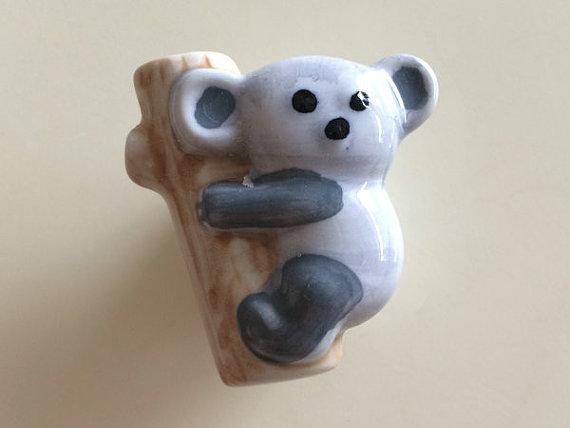 Kids dresser knob drawer pulls handles ceramic koala kid for Children s bureau knobs