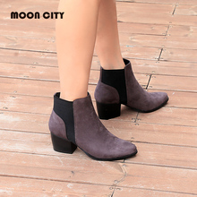 2019 Women Fashion Chelsea Boots spring & Autumn Shoes Woman Ankle Boots Femme Fur Leather Booties Ladies Causal Short Boots
