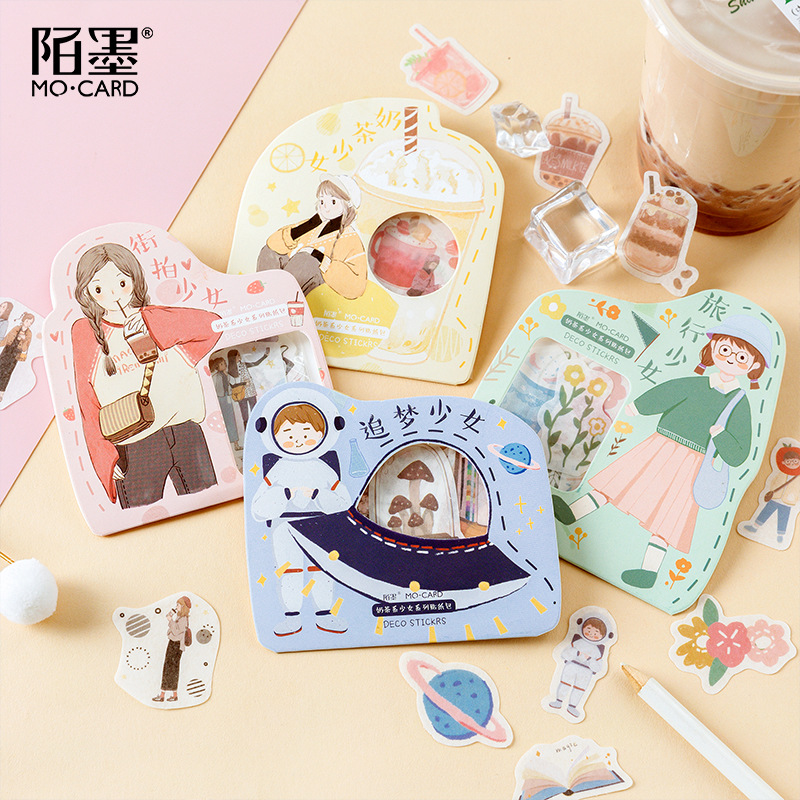 40pcs/pack Girls Journey Mini Paper Stickers Diy Album Diary Scrapbooking Label Sticker Stationery Decoration