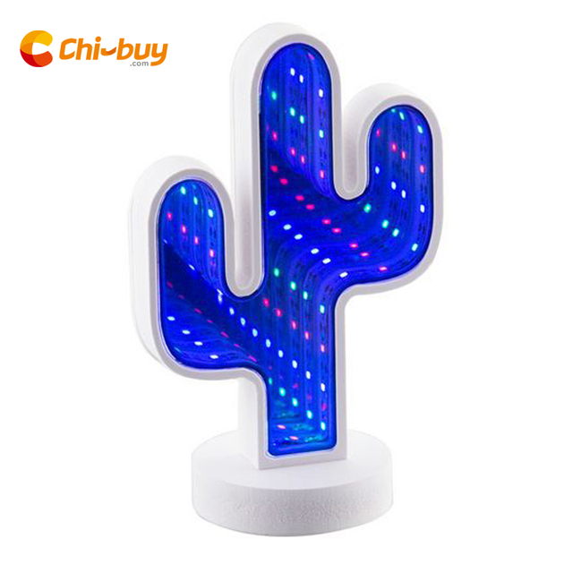 Chibuy USB Cactus 3D Light Mirror Tunnel Lamp Infinite Mirror Tunnel light Home LED Tunnel For home office Gift Creative