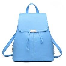 Новинка 2017 года поступления сумки для женщин в сдержанном стиле для отдыха модные Корейский стиль рюкзаки сплошной цвет розовый голубой темно-сине-белые сумка