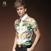 FanZhuan Free Shipping New fashion casual male men's personality summer short sleeve printed shirt slim design 15305 blouse