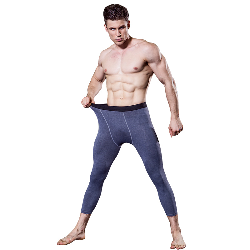 YEL2017 Logo Custom Gym 3/4 Leggings Men Sport Suit Compression Pants Fitness Tights Jogging Pant For Men Trousers Running Pants