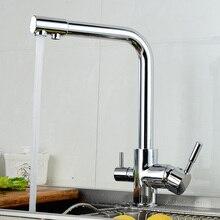 Современный Новый Полированный Хром Латунь Кухонный Кран Двойной Handels HJ-0184L Судно Смесителя Кран Чистой Воды