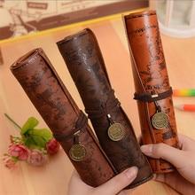 Креативные Ретро карандаши с картой сокровища, роскошные рулонные кожаные ручки для студентов, канцелярские принадлежности, школьные принадлежности, пенал