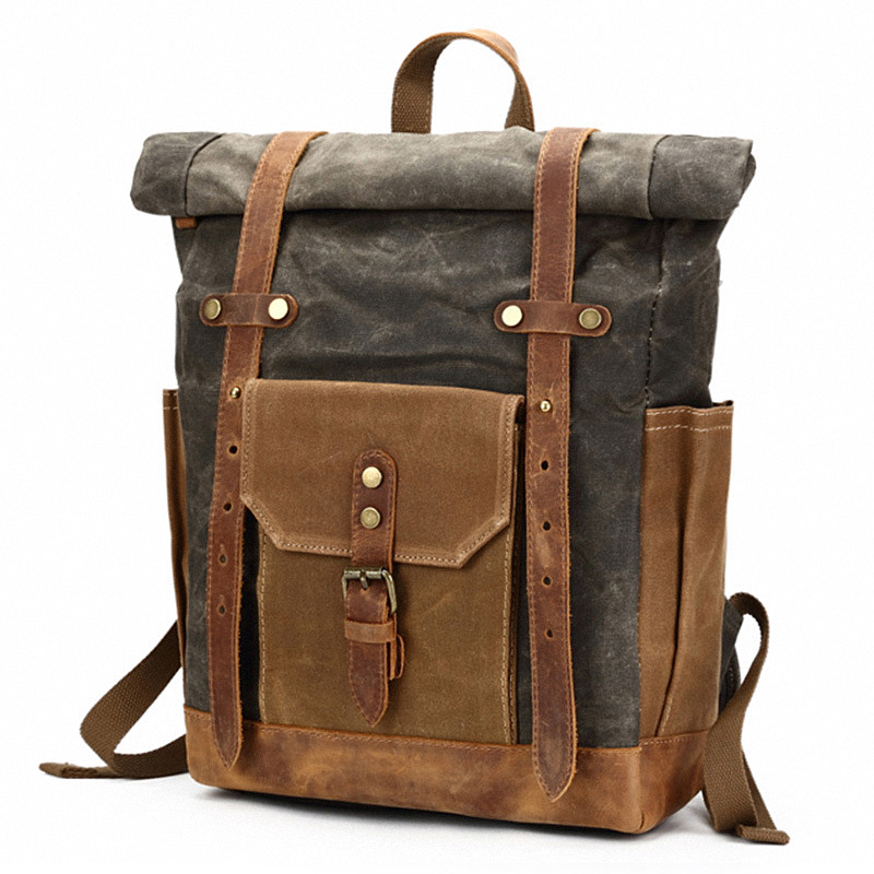 76fc33f101 Ruil Retro Canvas Bags Luggage Shoulder Man bag Multifunction Leisure Travel  Vintage Leather backpack ruil men