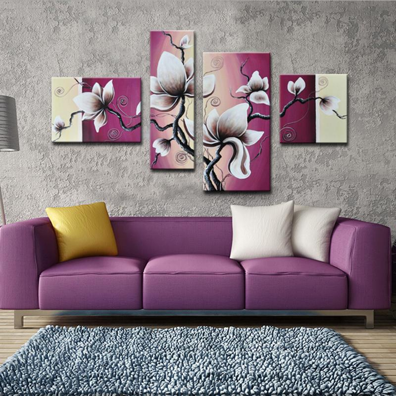 Purple Flower Oil Painting Abstract Wall Art Picture: Modern Home Decor Abstract Painting Calligraphy White